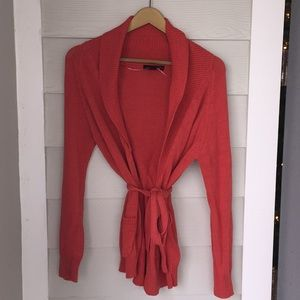 coral wrap sweater